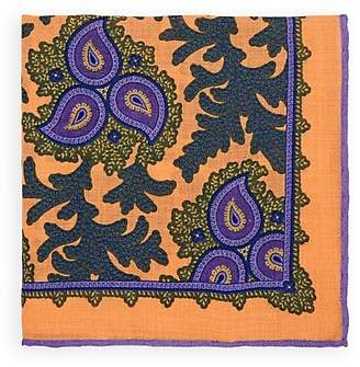 Bigi Men's Paisley Wool-Silk Pocket Square - Orange