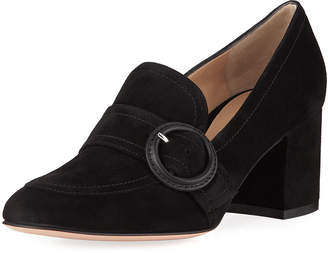 Gianvito Rossi Suede Buckle 60mm Loafers