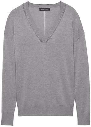 Banana Republic Silk Cashmere Boyfriend V-Neck Sweater