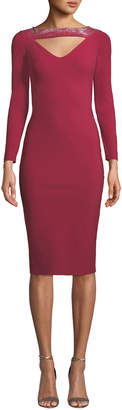 Chiara Boni Cayetana V-Neck Cutout & Embellished Dress