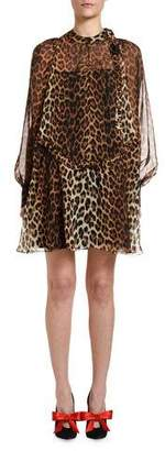 No.21 No. 21 Leopard Tie-Neck Blouson-Sleeve Keyhole Mini Silk Dress