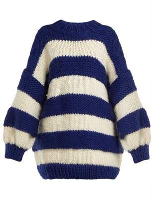 I Love Mr Mittens - Oversized Intarsia Striped Wool Sweater - Womens - Navy Multi