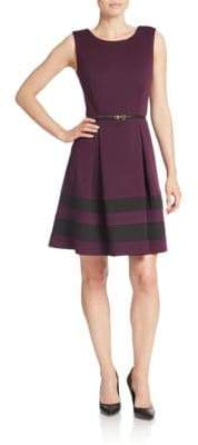 Calvin Klein Belted Stripe A-Line Dress