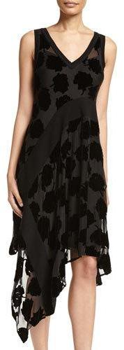 DKNY DKNY Sleeveless Velvet Leaf Midi Dress, Black
