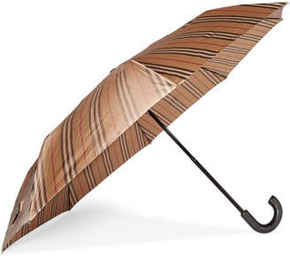 Burberry Leather-trimmed Striped Shell Umbrella - Beige