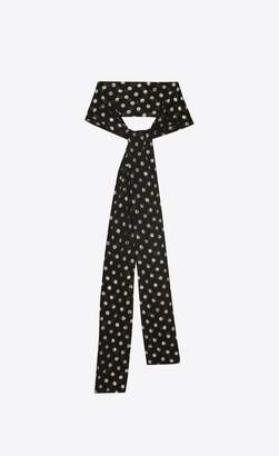 Saint Laurent Narrow Scarf In Black Silk With Lame Polka Dots