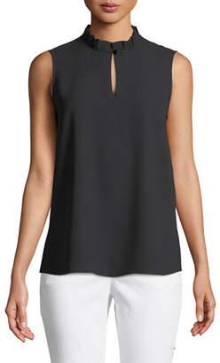 Misook Pleated-Collar Sleeveless Blouse, Plus Size