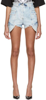 Balmain Blue Denim Frayed Bleached Shorts