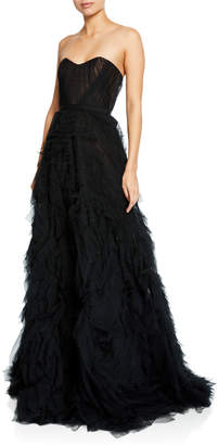 Marchesa Strapless Textured Tulle A-Line Gown w/ Corset Bodice