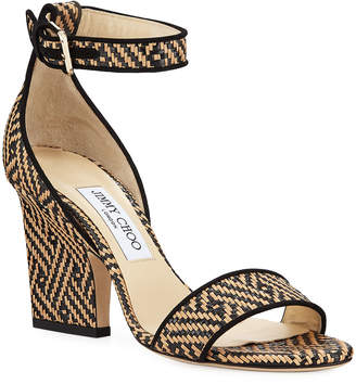 Jimmy Choo Edina Woven Ankle-Strap Sandals