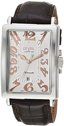 Gevril Avenue of Americas Men's Swiss-Automatic Rectangle Face Brown Leather Strap Watch