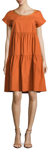 Max Mara Weekend Max Mara Solid Cotton Tiered Dress