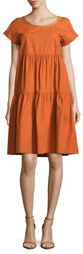 Max MaraWeekend Max Mara Solid Cotton Tiered Dress