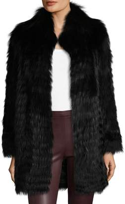 Karl Lagerfeld Paris Women's Long Fox Fur Coat