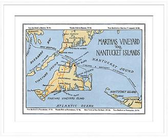 Soicher Marin Marthas Vineyard Map in White Frame Art