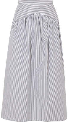 Atlantique Ascoli Striped Cotton-poplin Midi Skirt - Blue