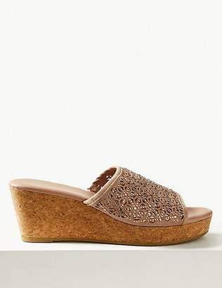 Marks and Spencer Wedge Heel Slip-on Sparkle Mule Sandals