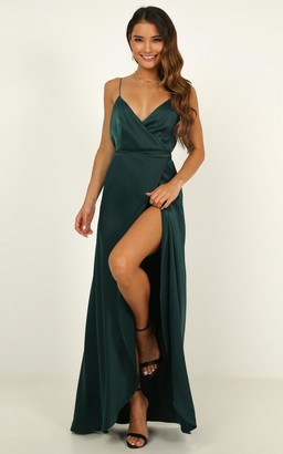 Showpo Mine Would Be You Dress in emerald satin - 4 (XXS) Dresses