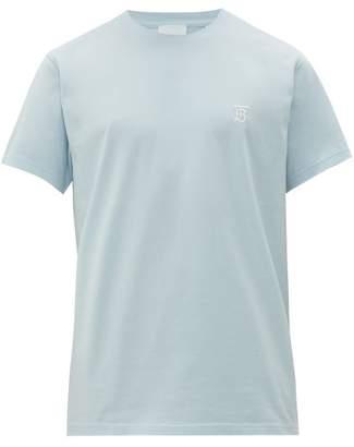Burberry Embroidered Monogram Cotton Jersey T Shirt - Mens - Light Blue