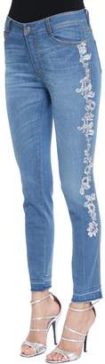 Ermanno Scervino Skinny Lace Embroidered Denim Jeans