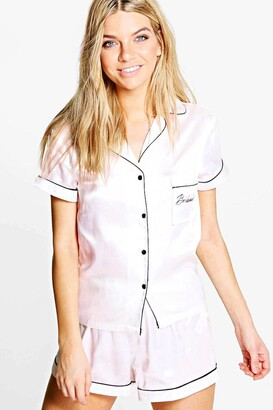 boohoo Bridesmaid Embroidered Satin Tshirt + Short Set
