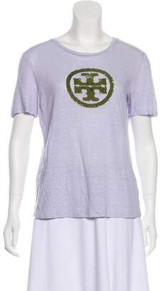 Tory Burch Sequin-Accented Short Sleeve T-Shirt
