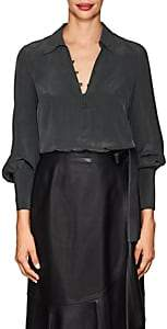 L'Agence Women's Naomi Washed Silk Blouse - Black