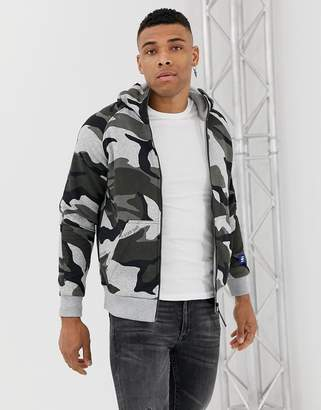 G Star G-Star zip thru camo print hoodie in gray