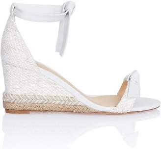 Alexandre Birman Clarita Rope Wedge Sandal in White Leather