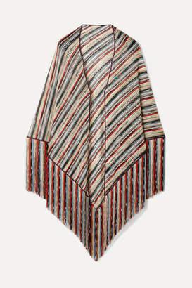 Missoni Fringed Metallic Crochet-knit Wrap - Blue