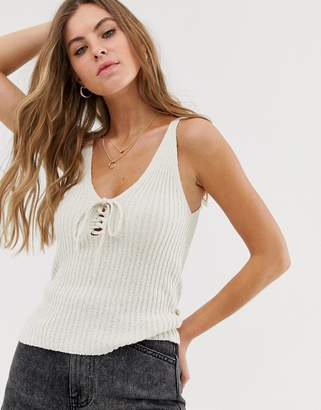 New Look lace up knitted vest in oatmeal