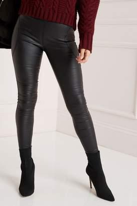 Lipsy Stella High Rise Skinny Coated Regular Length Jeggings - 8 - Black