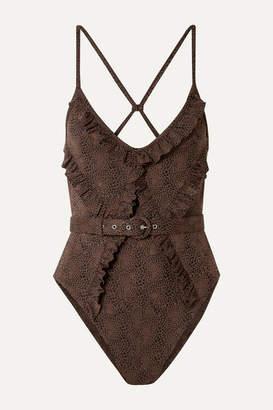 Nicholas Belted Ruffled Snake-print Swimsuit - Brown