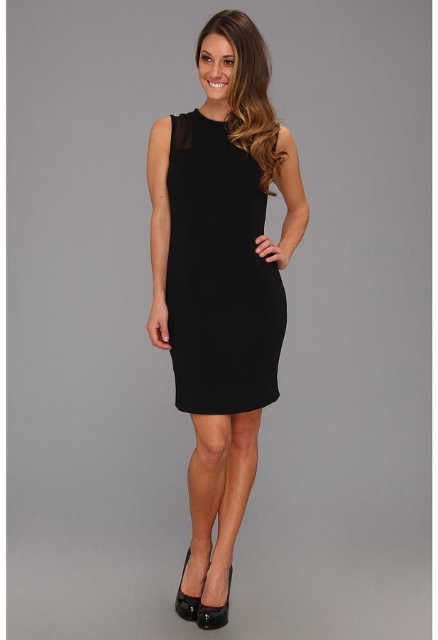 Calvin Klein Sheer Inset Dress CD3E2E74 (Black) - Apparel