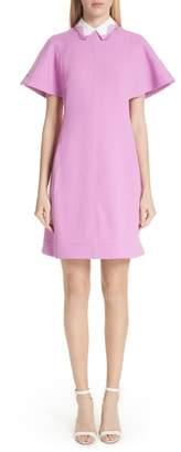Lela Rose Detachable Embroidered Collar Tunic Dress