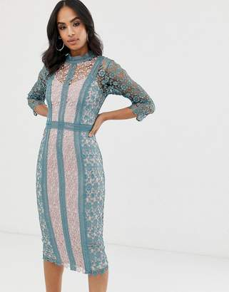Little Mistress long sleeve two tone floral crochet midi dress