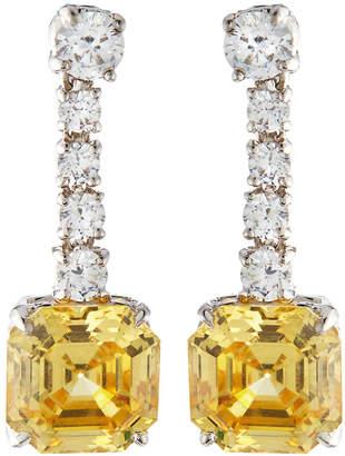 FANTASIA Asscher-Cut Canary CZ Drop Earrings