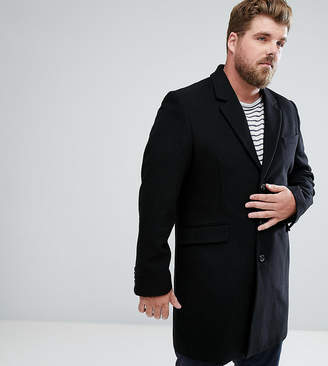 Asos PLUS Wool Mix Overcoat In Black