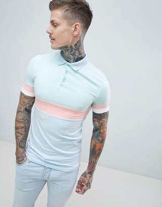 Asos DESIGN muscle polo shirt in pastel color block