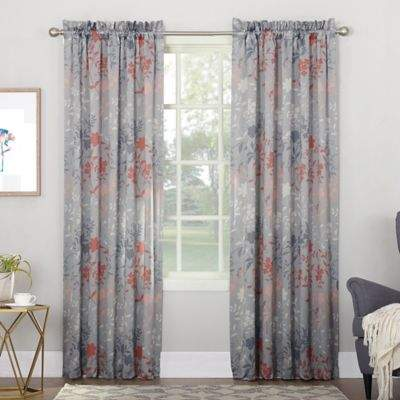 Sun Zero Allena 84-inch Rod Pocket Room Darkening Window Curtain Panel in Grey