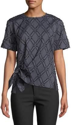 Derek Lam 10 Crosby Diamond-Stripe Short-Sleeve Knotted Top