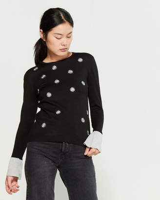 YAL New York Embroidered Floret Sweater