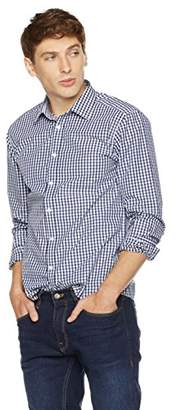 Clifton Heritage Men's Slim Fit Long-Sleeve Spread Collar Gingham Button-Up Shirt Dark Blue & Red Check