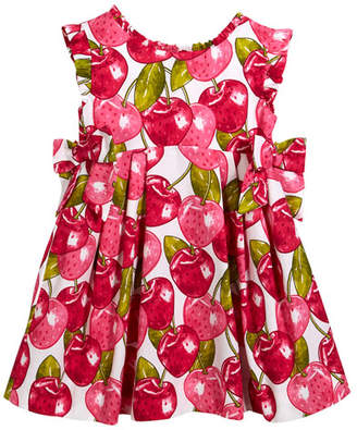 Mayoral Cherry-Print Pique Dress, Size 3-7