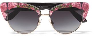 Dolce & Gabbana - Cat-eye Floral-print Acetate Sunglasses - Pink $310 thestylecure.com