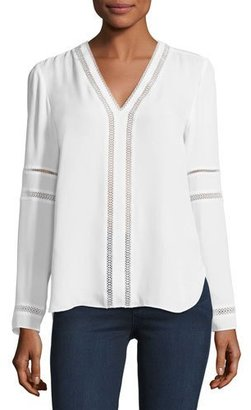 Elie Tahari Damaris Long-Sleeve Lace-Trim Silk Blouse, White $268 thestylecure.com