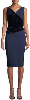 Chiara Boni Hilaria Sleeveless Velvet-Wrap Dress