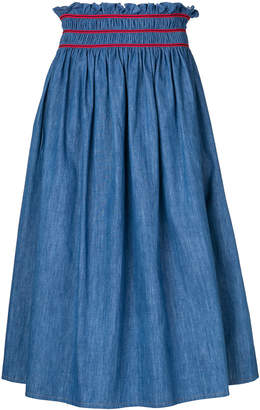 Miu Miu shirred denim midi skirt