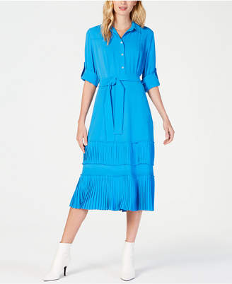 Marella Pleated-Panel Shirt Dress