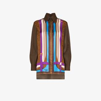 Fendi stripe print silk shirt